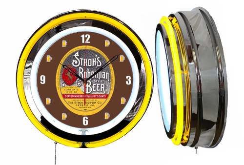 Strohs Beer BROWN NEON Wall Clock Mugs Dial  YELLOW Neon   Vintage Style
