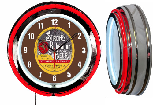 Strohs Beer Sign, V1 NEON Wall Clock  RED Neon   Vintage Style