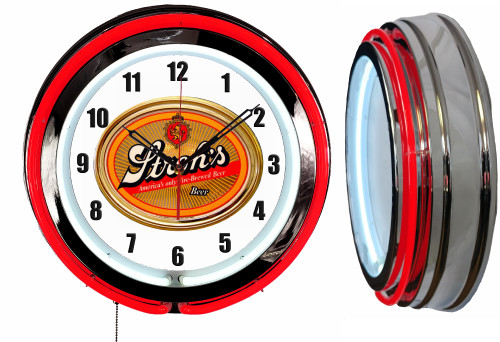 Strohs Beer V2 NEON Wall Clock  RED Neon   Vintage Style
