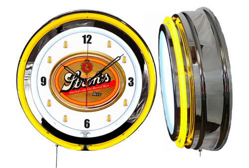 Strohs Beer V2 NEON Wall Clock Mugs Dial  YELLOW Neon   Vintage Style