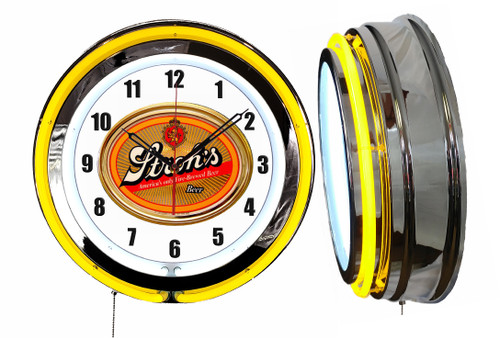 Strohs Beer V2 NEON Wall Clock STD Dial  YELLOW Neon   Vintage Style