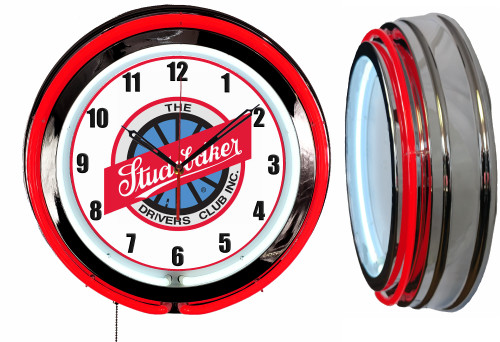Studebaker Drivers NEON Wall Clock RED Neon   Vintage Style