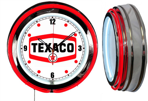 Texaco Logo Sign, NEON Wall Clock RED Neon | Vintage Style