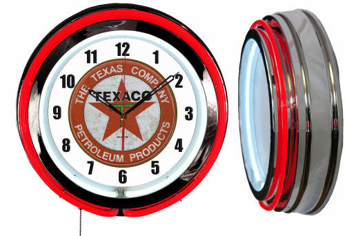 Texaco Petroleum Sign, NEON Wall Clock  RED Neon   Vintage Style