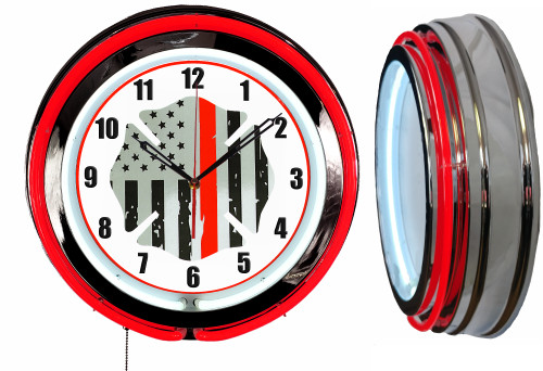 Thin RED Line Firefighter Sign, NEON Wall Clock RED Neon   Vintage Style