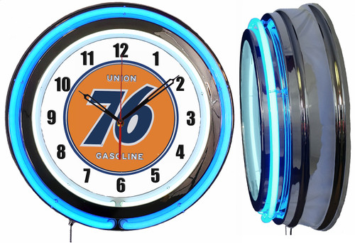 Union 76 Sign NEON Wall Clock  BLUE Neon   Vintage Style