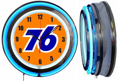 Union 76 Sign, NEON Wall Clock  BLUE Neon   Vintage Style