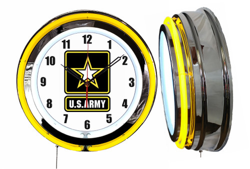 US Army Sign, NEON Wall Clock  YELLOW Neon   Vintage Style