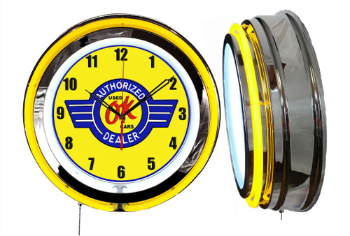 Used Cars OK Dealer Sign, NEON Wall Clock YELLOW Neon   Vintage Style