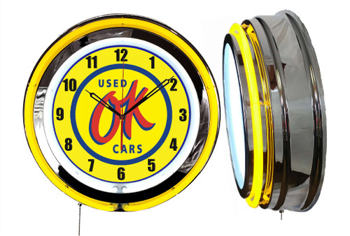 Used Cars OK Used Sign, NEON Wall Clock YELLOW Neon   Vintage Style