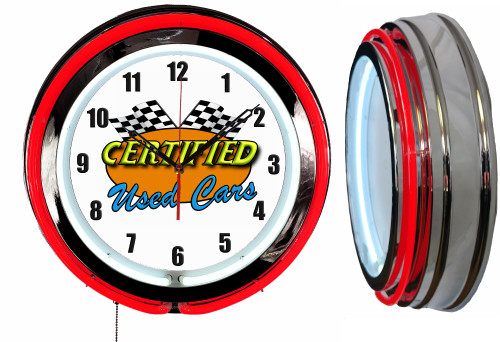 Certified Used Cars Sign NEON Wall Clock RED Neon   Vintage Style