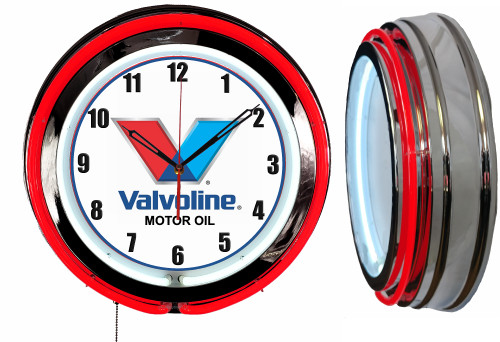 Valvoline Oil Sign, NEON Wall Clock  RED Neon | Vintage Style