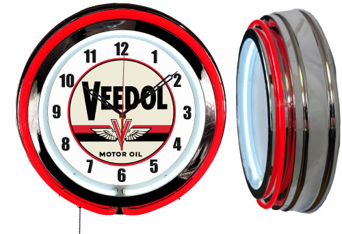 Veedol Oil Sign,  NEON Wall Clock RED Neon | Vintage Style