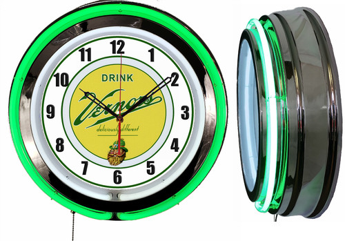 Vernors Soda Pop Sign, NEON Wall Clock  GREEN Neon   Vintage Style