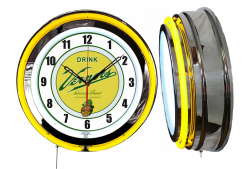 Vernors Soda Pop Sign, NEON Wall Clock  YELLOW Neon   Vintage Style