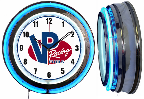 VP Race Fuel Sign, NEON Wall Clock  BLUE Neon   Vintage Style
