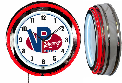VP Racing Fuel Sign, NEON Wall Clock  RED Neon   Vintage Style