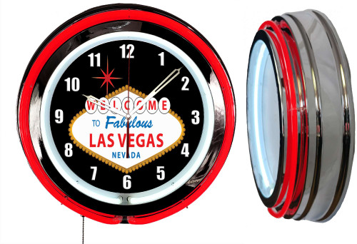 Welcome To Las Vegas Sign NEON Wall Clock RED Neon   Vintage Style