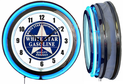 White Star Gasoline Sign, NEON Wall Clock BLUE Neon   Vintage Style