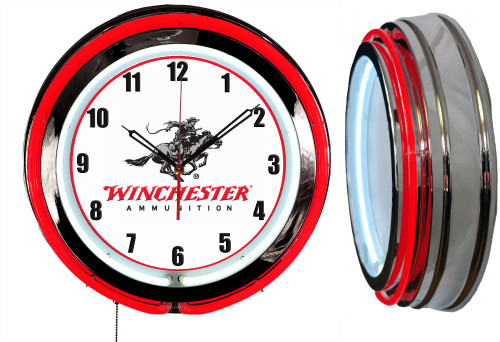 Winchester Ammo Guns Sign NEON Wall Clock - RED Neon   Vintage Style