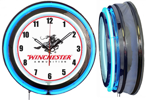 Winchester Ammo Guns Sign NEON Wall Clock BLUE Neon   Vintage Style