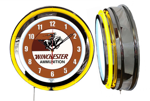 Winchester Ammo Rider Guns Sign  NEON Wall Clock - YELLOW Neon   Vintage Style
