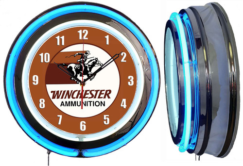 Winchester Ammo Rider Guns Sign NEON Wall Clock - BLUE Neon   Vintage Style
