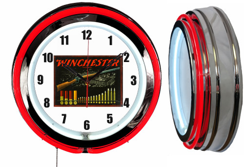 Winchester Guns Sign, NEON Wall Clock RED Neon   Vintage Style