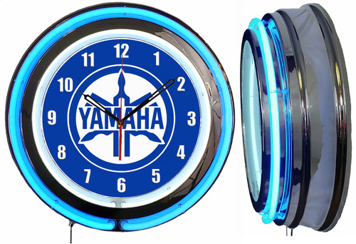 Yamaha White Sign, NEON Wall Clock BLUE Neon   Vintage Style