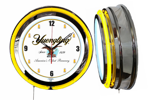 Yuengling Beer Sign, NEON Wall Clock Mugs Dial YELLOW Neon   Vintage Style