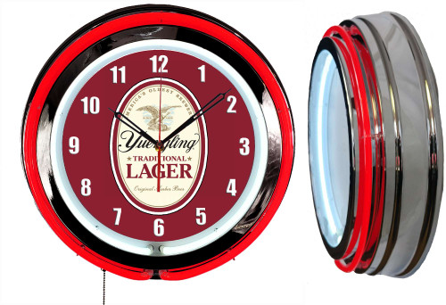 Yuengling Lager Beer Sign NEON Wall Clock - RED Neon   Vintage Style