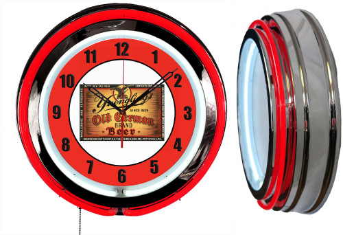 Yuengling Old German Beer Sign NEON Wall Clock - RED Neon   Vintage Style
