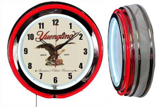 Yuengling Since 1829 Beer Sign NEON Wall Clock - RED Neon   Vintage Style