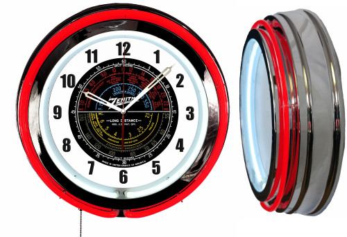 Zenith Radio Colored Dial Sign, NEON Wall Clock RED Neon   Vintage Style