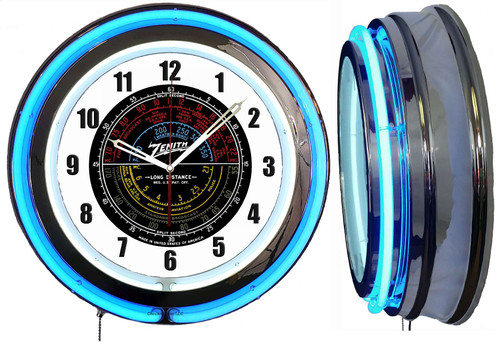 Zenith Radio Sign, Colored Dial NEON Wall Clock BLUE Neon   Vintage Style