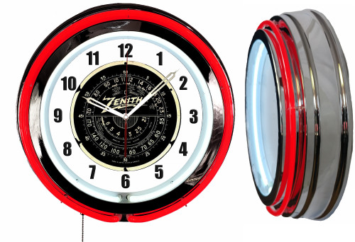 Zenith Radio Sign, NEON Wall Clock RED Neon   Vintage Style