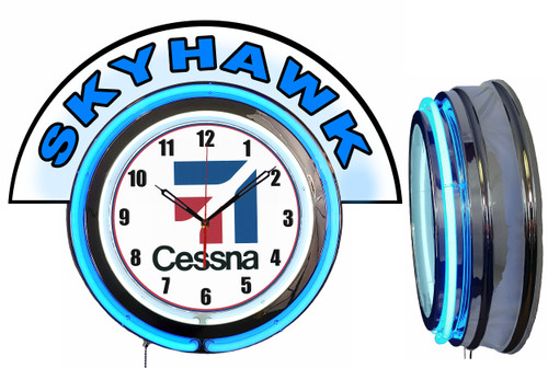 Cessna Skyhawk Airplane NEON Wall Clock with Marquee, BLUE Neon | Vintage Style