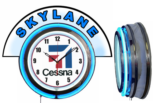 Cessna Skylane Airplane NEON Wall Clock with Marquee, BLUE Neon | Vintage Style