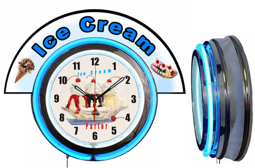 Ice Cream Parlor Clock with Marquee BLUE Neon   Vintage Style