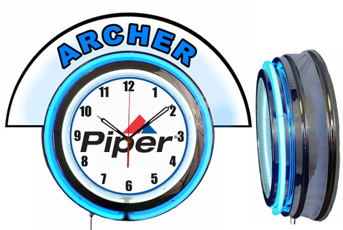 Piper Archer Airplane NEON Wall Clock with Marquee, BLUE Neon | Vintage Style