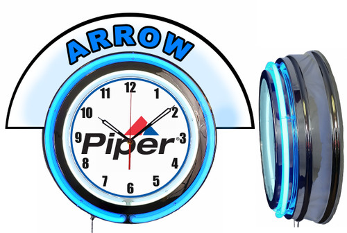 Piper Arrow Airplane NEON Wall Clock with Marquee, BLUE Neon | Vintage Style