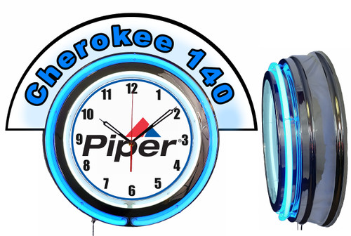 Piper Cherokee 140 Airplane NEON Wall Clock with Marquee BLUE Neon | Vintage Style