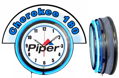 Piper Cherokee 180 Airplane NEON Wall Clock with Marquee BLUE Neon | Vintage Style