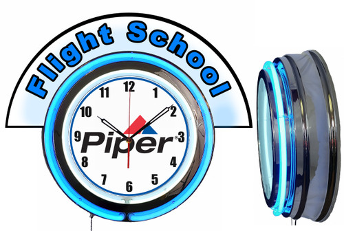 Piper Flight School (Blue) NEON Wall Clock with Marquee, BLUE Neon | Vintage Style
