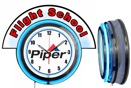 Piper Flight School (Red) NEON Wall Clock with Marquee, BLUE Neon | Vintage Style