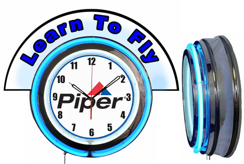 Piper Learn to Fly (Blue) NEON Wall Clock with Marquee, BLUE Neon | Vintage Style