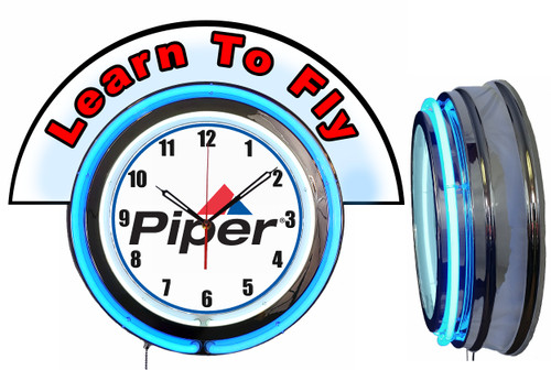 Piper Learn to Fly (Red) NEON Wall Clock with Marquee BLUE Neon | Vintage Style