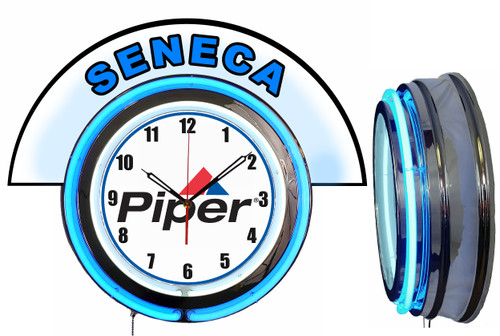 Piper Seneca Airplane NEON Wall Clock with Marquee, BLUE Neon | Vintage Style