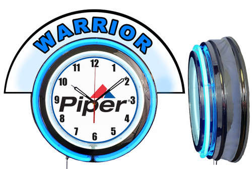Piper Warrior Airplane NEON Wall Clock with Marquee, BLUE Neon | Vintage Style