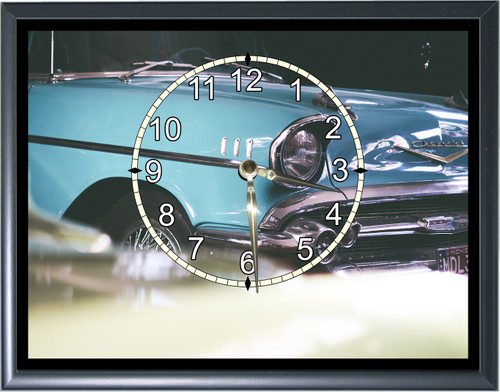 1957 Chevy Blue Front End Desk or Wall  Clock1